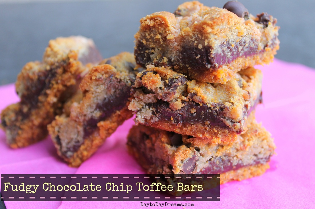Fudgy Chocolate Chip Toffee bars DaytoDayDreams.com