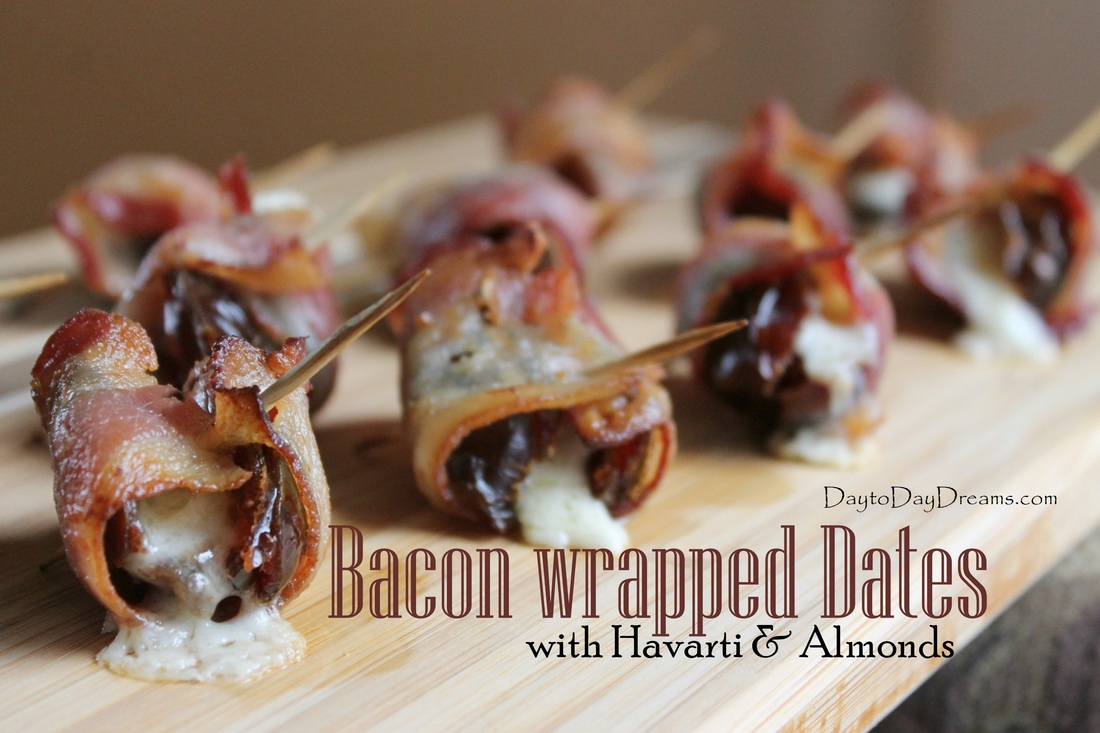 Bacon wrapped Dates with Havarti & Almonds