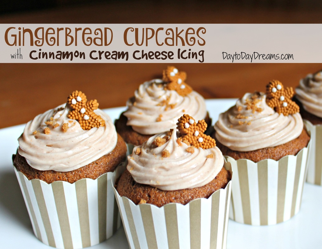 Gingerbread Cupcakes with Cinnamon Cream Cheese Icing. - Day to Day ...