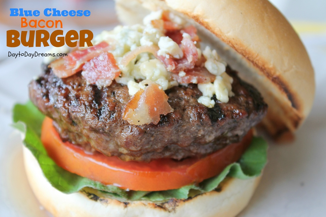 Blue Cheese bacon Burger DaytoDayDreams.com