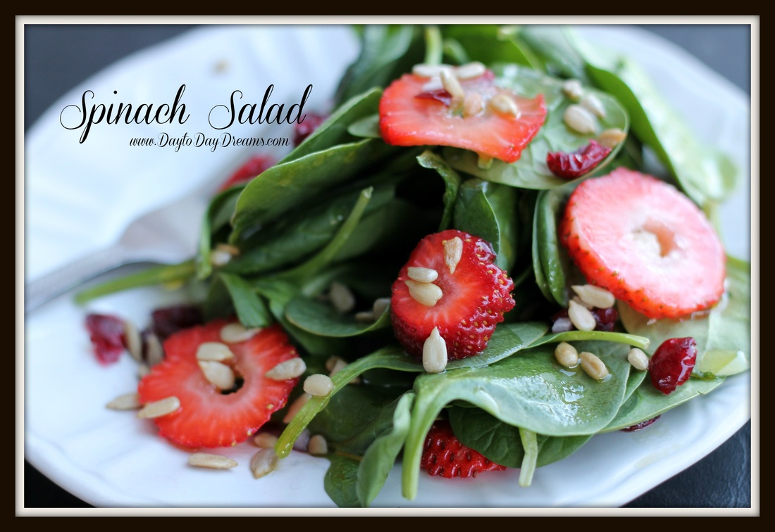 Spinach Salad - Yummy!  www.DaytoDayDreams.com