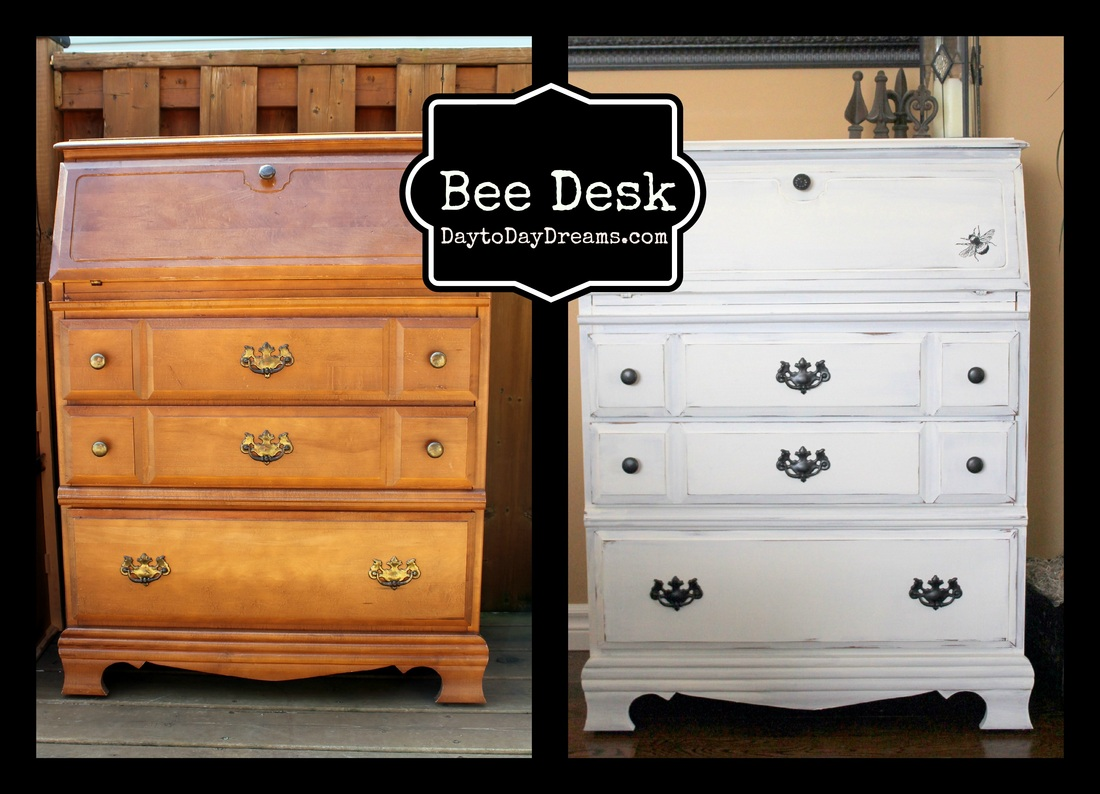 Bee desk makeover DaytoDayDreams.com